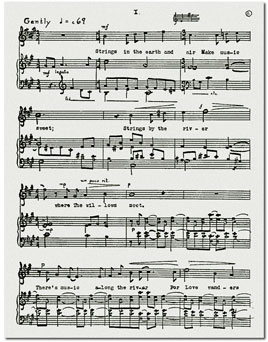 Autograph score for Strings in the Earth and Air from Finney's Chamber Music